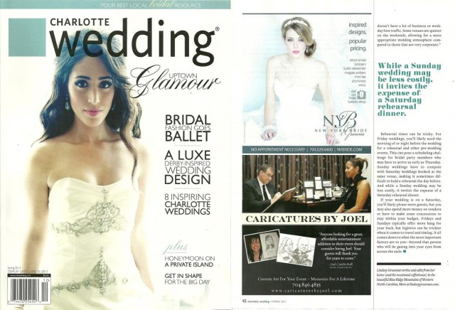 JK ad in Charlotte Wedding mag